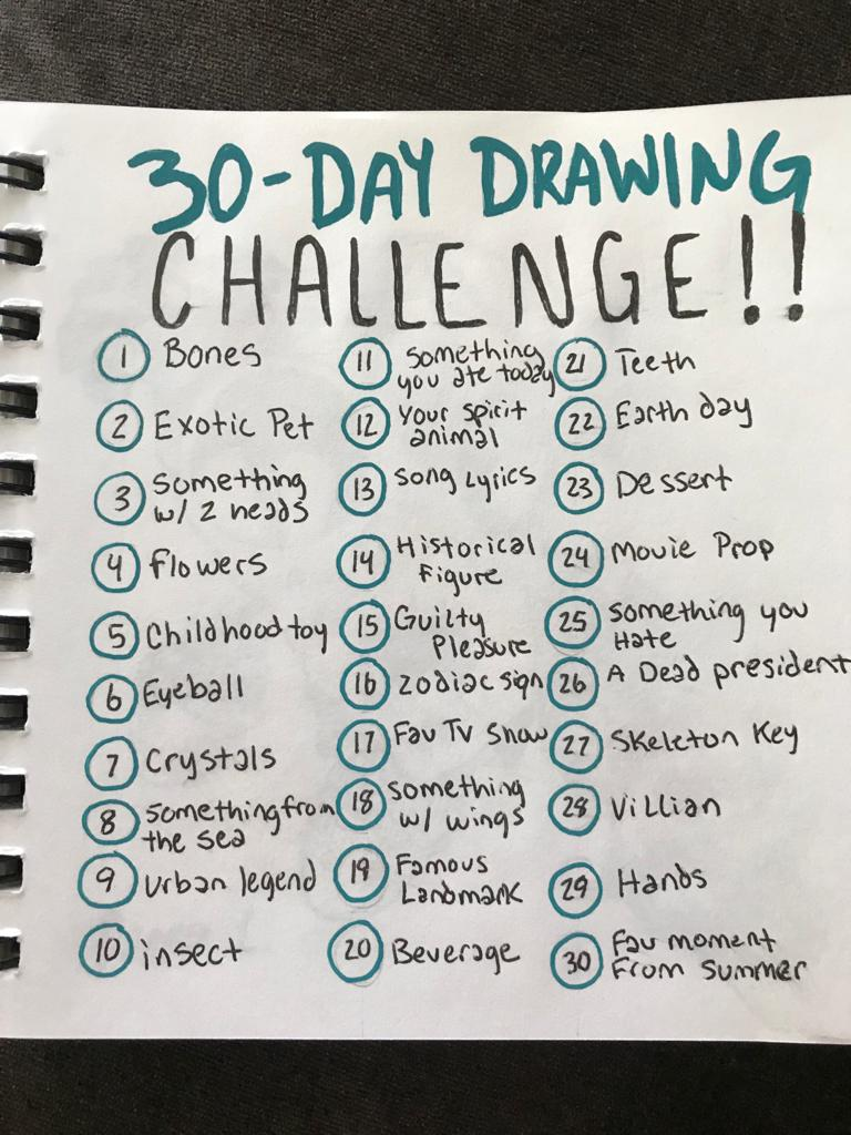An art challenge that lists out 30 days of art prompts