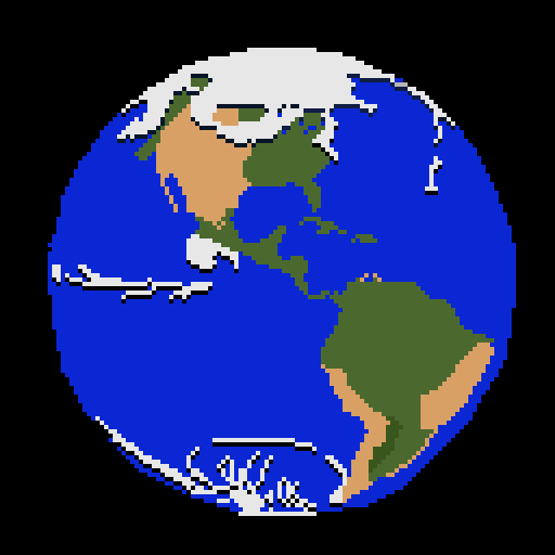 A pixel-art picture of the earth