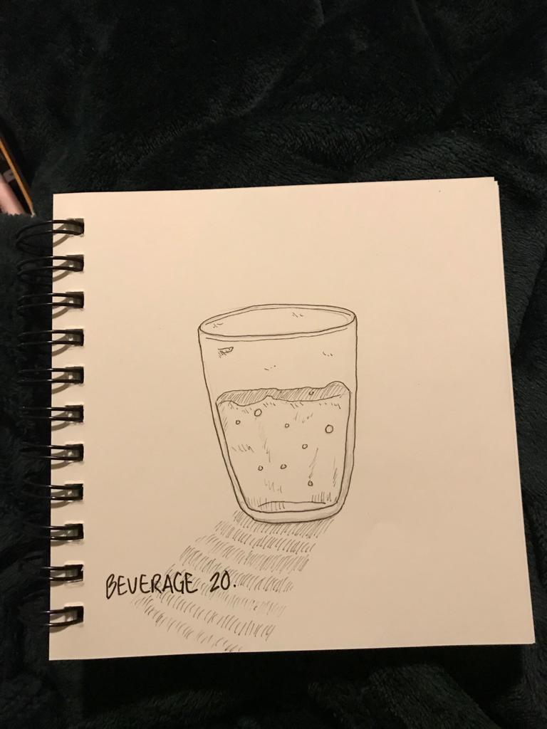 A drawing of a cup of water