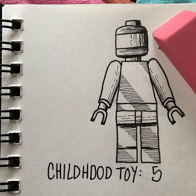 An ink picture of a lego minifigure with a blank face