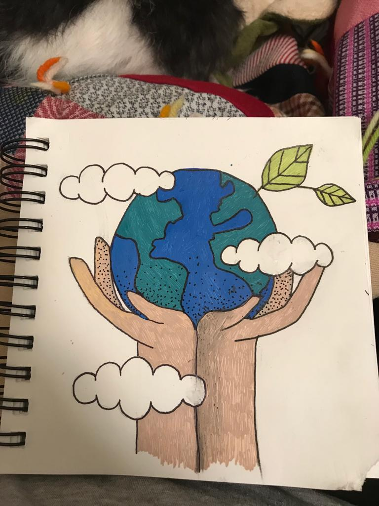 A picture of the earth, with clouds, being held up by a pair of hands