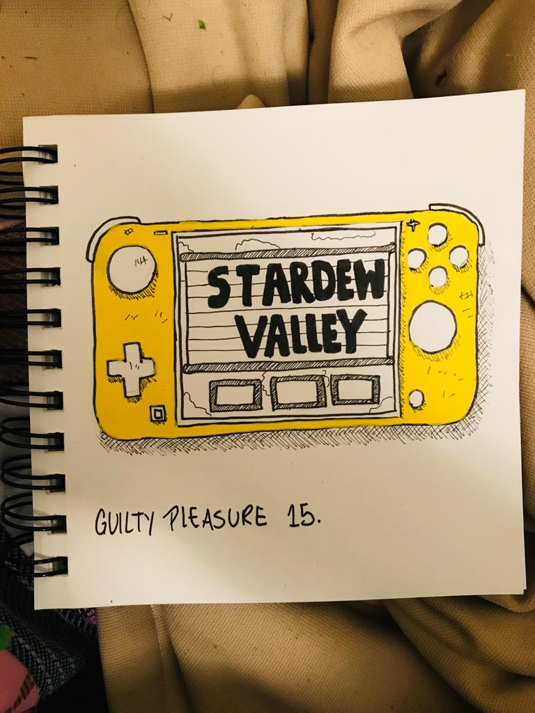 A sketch of a Yellow Nitendo Switch with Stardew Valley on the screen