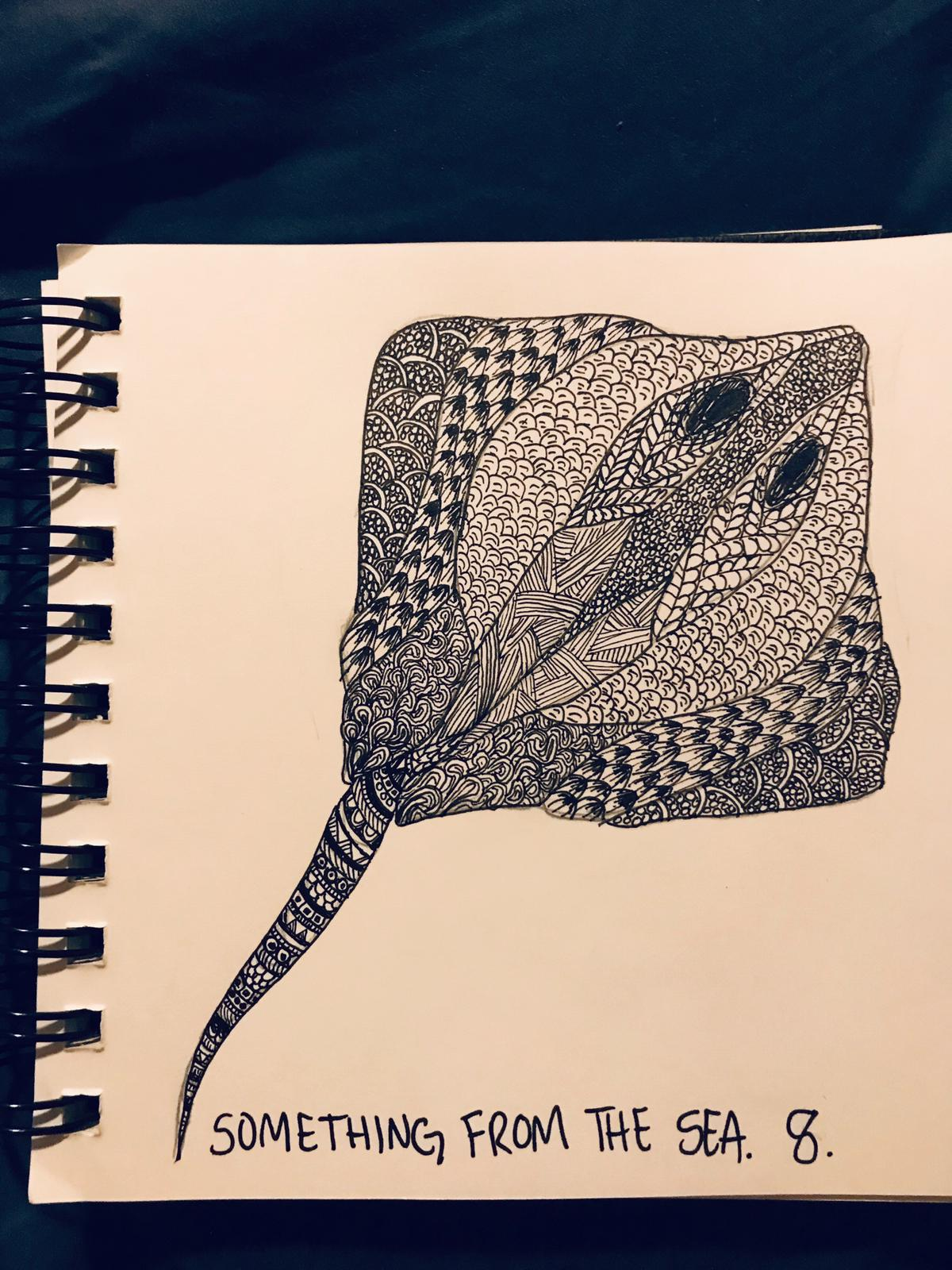 An ink picture of a ray that has a lot of cool repeating patterns
