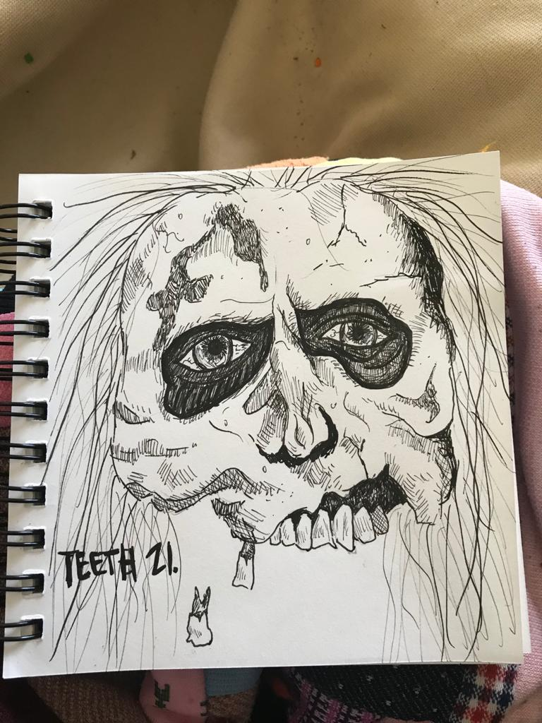 A picture of a Zombie Skull with prominent teeth